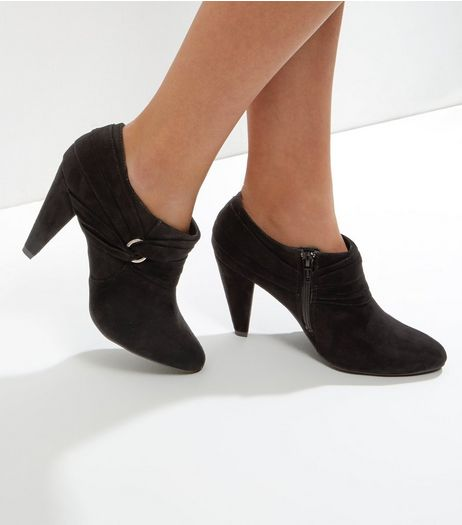 Wide Fit Black Comfort Suedette Twist Side Shoe Boots | New Look