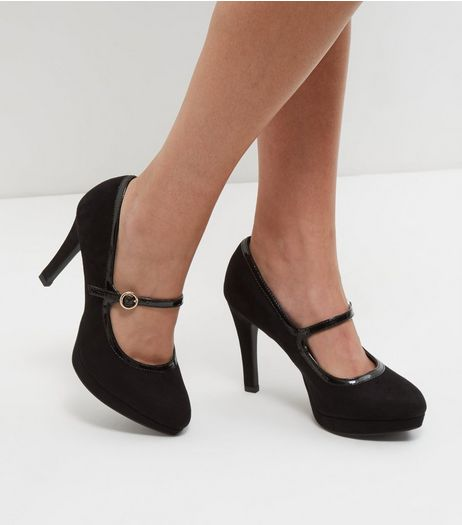 Black Wide Fit Comfort Strap Front Plaform Heels | New Look
