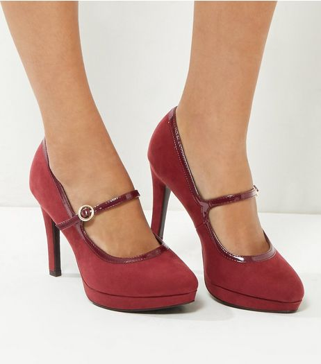 Wide Fit Dark Red Comfort Suedette Strap Front Heels | New Look