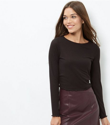 Black Ribbed Frill Trim Long Sleeve Top | New Look