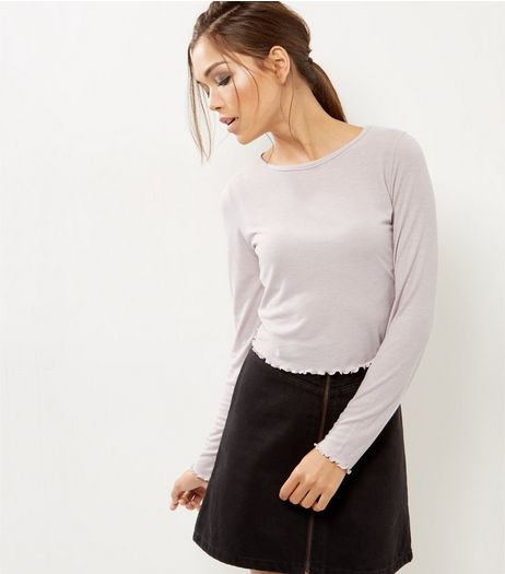Mink Ribbed Frill Trim Long Sleeve Top  | New Look