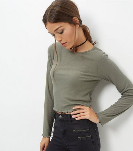 Olive Ribbed Frill Trim Long Sleeve Top | New Look