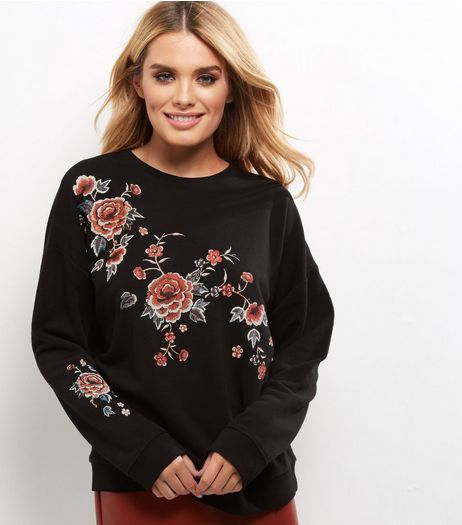 Black Rose Print Sweater | New Look