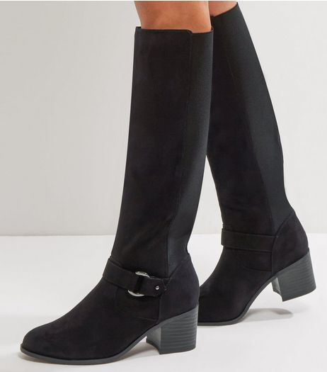 Wide Fit Black Comfort Suedette Knee High Boots | New Look