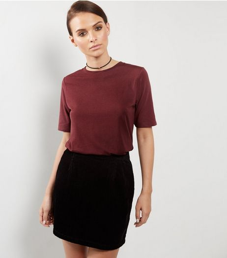 Burgundy Short Sleeve Washed T-Shirt  | New Look