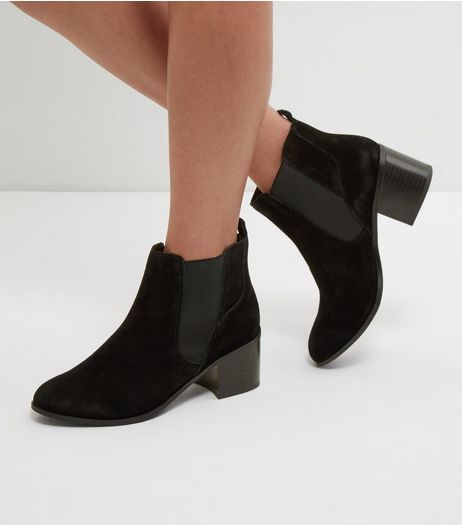 Wide Fit Black Suede Chelsea Boots | New Look