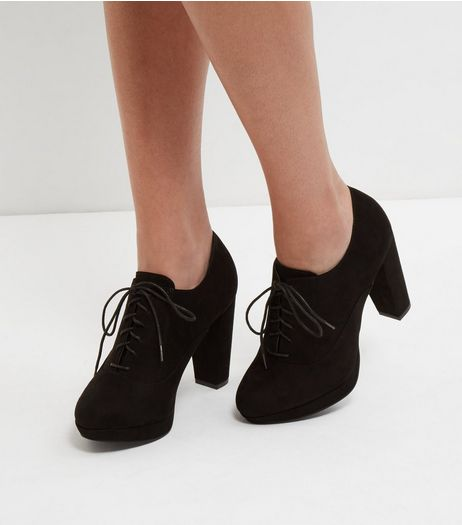 Black Wide Fit Lace Up Shoe Boots | New Look