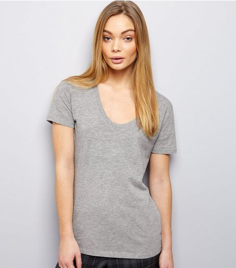 Mid Grey Scoop Neck Short Sleeve T-Shirt | New Look