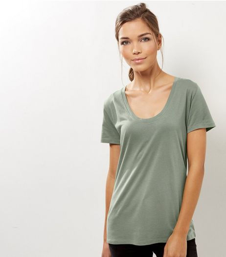 Olive Green Scoop Neck Boyfriend T-Shirt  | New Look
