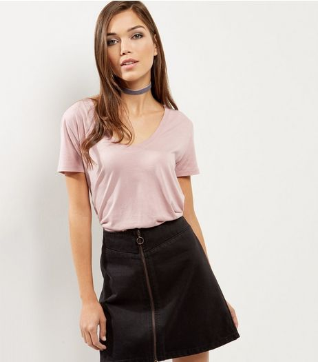 Mid Pink Scoop Neck Boyfriend T- Shirt  | New Look