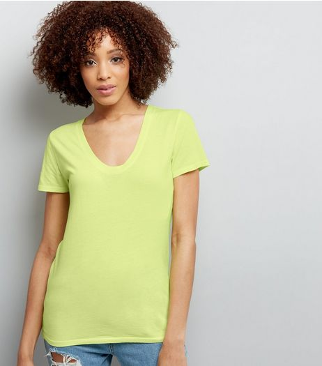 Yellow Scoop Neck Short Sleeve T-Shirt  | New Look
