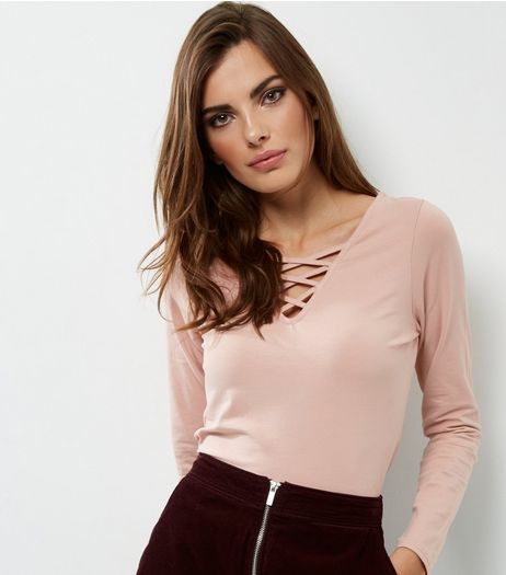 Camel Lattice Front Long Sleeve Top | New Look