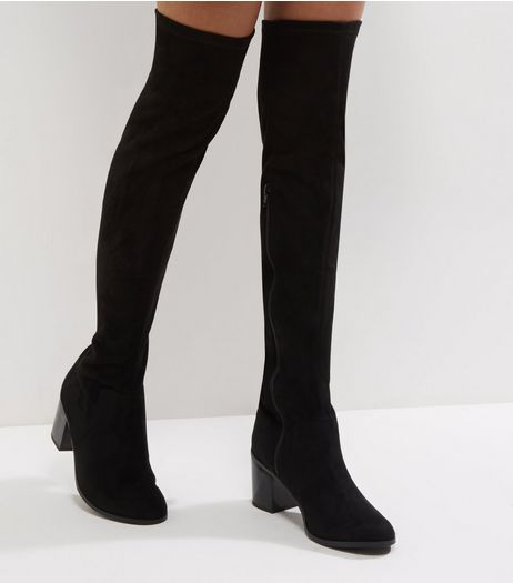 Wide Fit Black Comfort Suedette Block Heel Over The Knee Boots | New Look