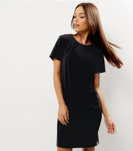 Black Button Shoulder Detail Tunic Dress | New Look