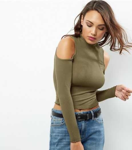 Olive Ribbed Cold Shoulder Top | New Look