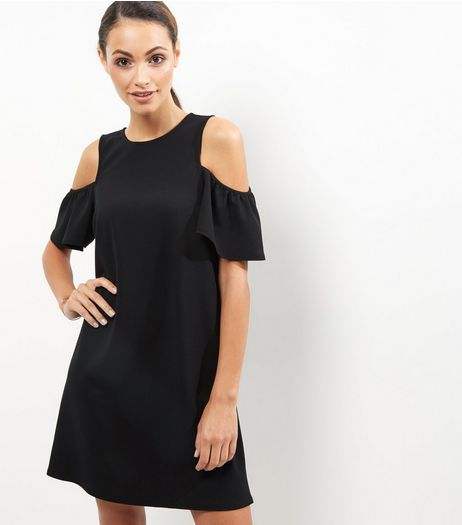 Black Crepe Frill Trim Cold Shoulder Tunic Dress | New Look