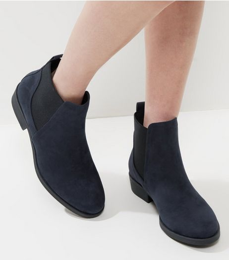 Navy Suedette Chelsea Boots | New Look