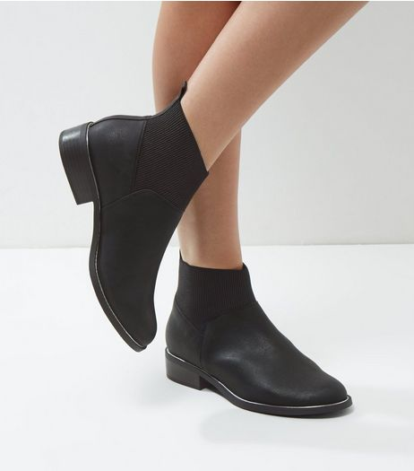 Black Leather Look Metal Trim Chelsea Boots | New Look