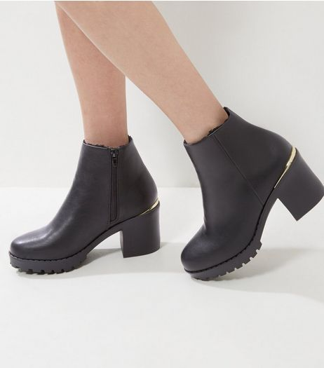 Black Leather-Look Metal Trim Block Heel Boots | New Look