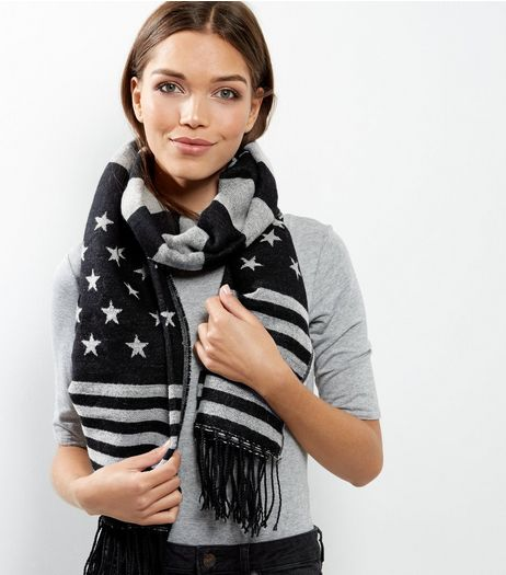 Black Stars and Stripes Print Scarf | New Look