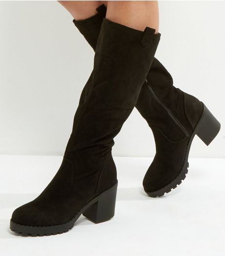 Black Suedette Platform Knee Boots | New Look