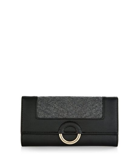 Black Textured Ring Front Quilted Purse  | New Look