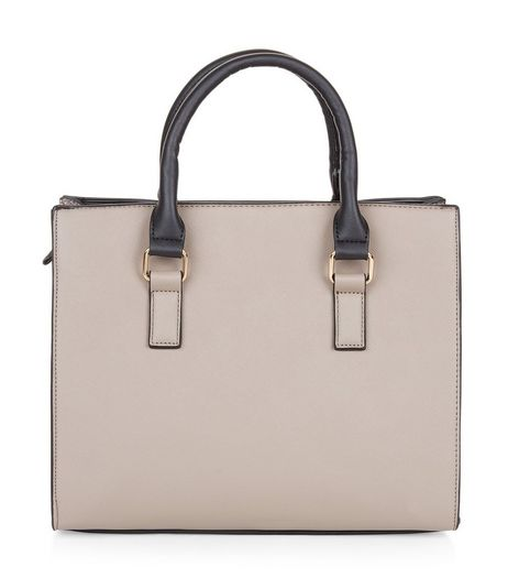Mink Colour Block Snakeskin Panel Tote Bag | New Look