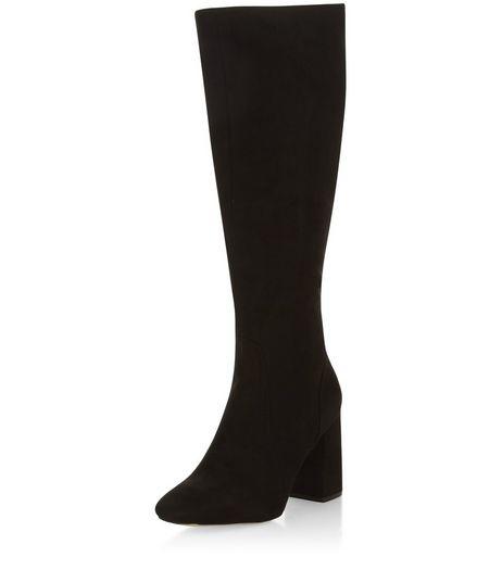 Black Suedette Flared Block Heel Knee High Boots | New Look