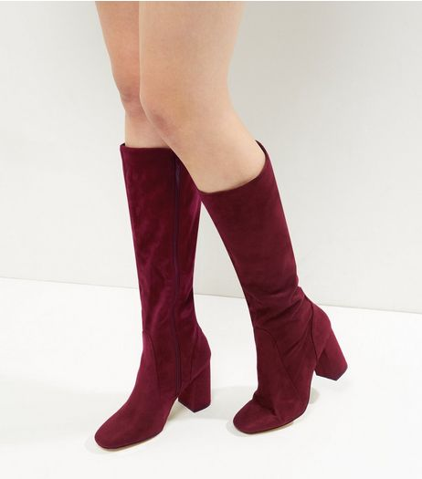 Red Suedette Flared Block Heel Knee High Boots | New Look