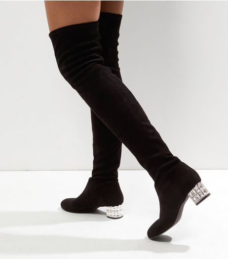 Black Suedette Crystal Block Heel Over The Knee Boots | New Look