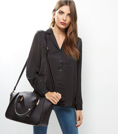 Black Leather-Look Studded Satchel Bag | New Look