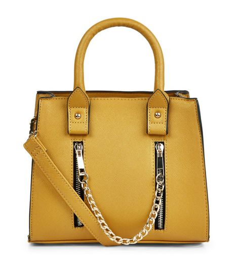 Yellow Mini Gold Chain Structured Tote Bag | New Look