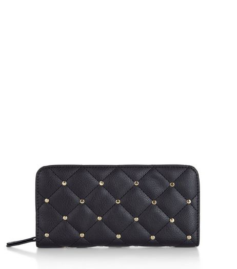Black Quilted Studded Purse | New Look