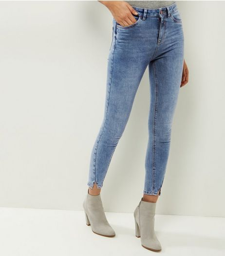 Pale Blue Twist Hem Jeans  | New Look