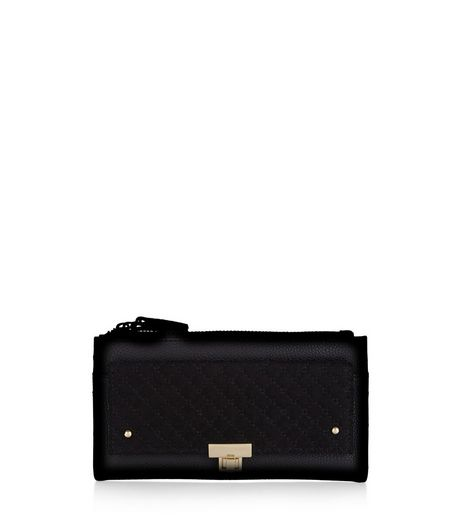 Black Leather-Look Quilted Front Purse | New Look