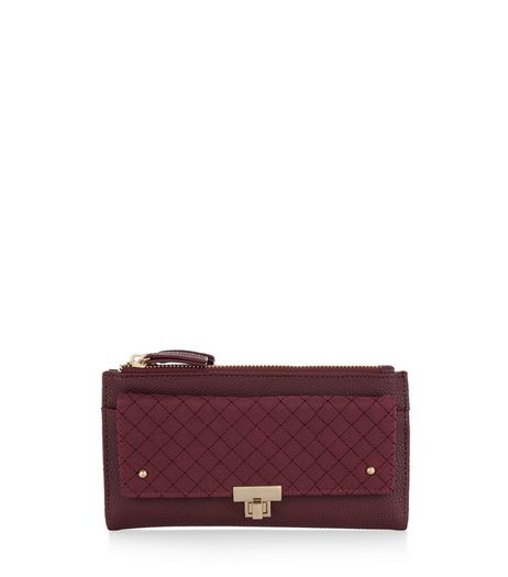 Burgundy Leather-Look Quilted Front Purse | New Look