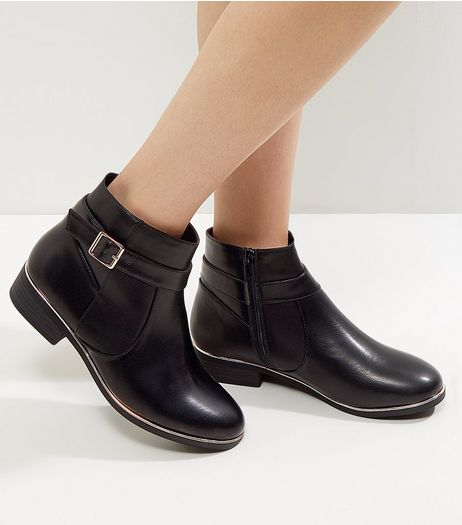 Wide Fit Black Leather-Look Metallic Trim Ankle Boots | New Look