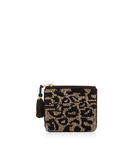 Black Leopard Print Embellished Zip Top Purse | New Look