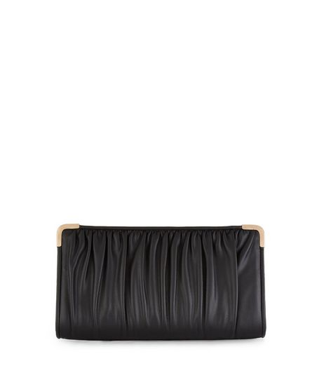 Black Ruched Clutch  | New Look