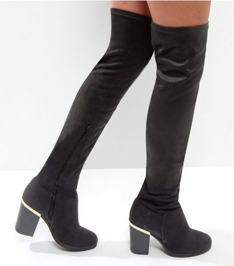 Wide Fit Black Suedette Over The Knee Metal Heel Trim Boots | New Look