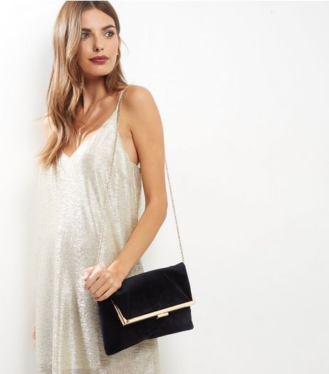 Black Velvet Foldover Clutch  | New Look