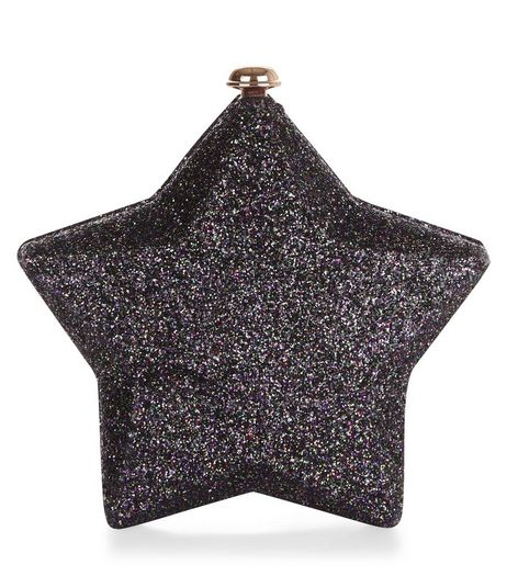 Black Glitter Star Clutch | New Look