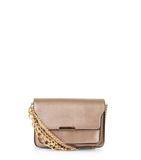 Bronze Metallic Layered Chain Shoulder Bag | New Look
