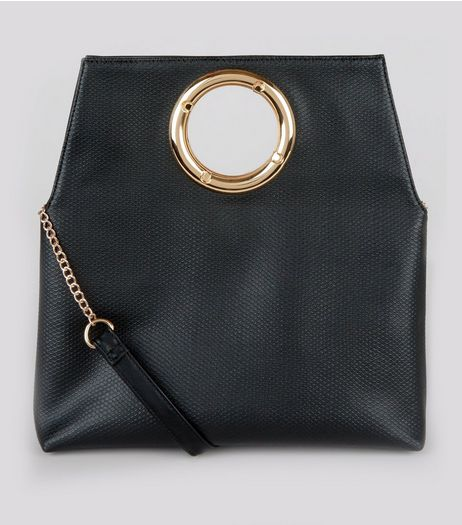 Black Leather-Look Cut Out Handle Clutch | New Look