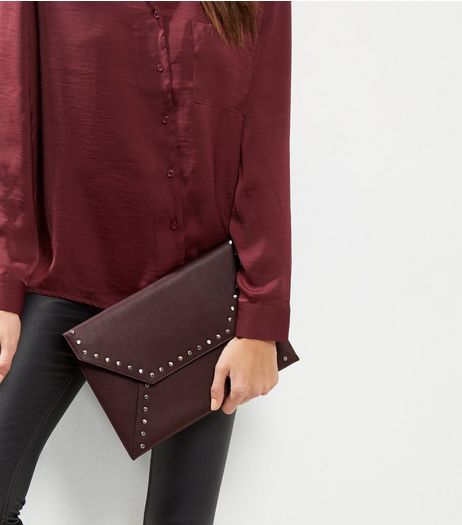 Burgundy Leather-Look Flat Stud Envelope Clutch | New Look