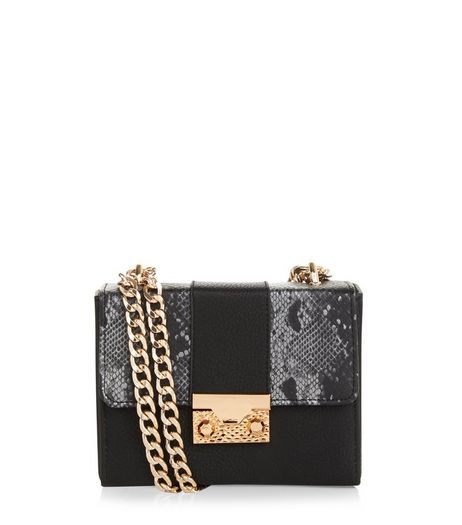 Black Snakeskin Panel Mini Box Bag | New Look