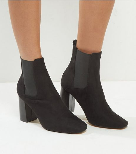 Wide Fit Black Suedette Flared Heel Chelsea Boots | New Look