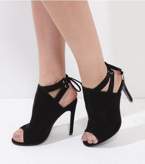 Wide Fit Black Suedette Peep Toe Tie Up Heels | New Look