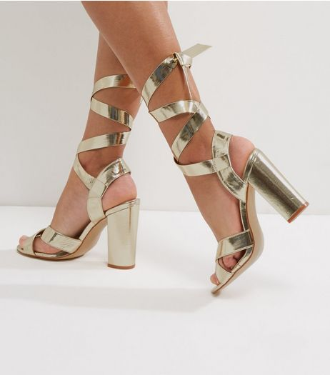 Wide Fit Gold Tie Up Block Heeled Sandals | New Look