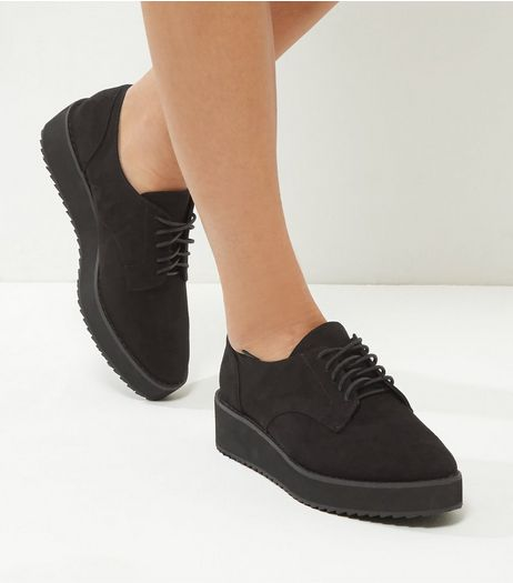 Wide Fit Black Suedette Platform Brogues | New Look